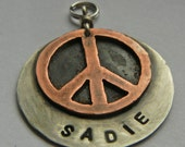 PEACE Sign Dog Tag Pet Id-Retro 60's Hippie Dog Tag- Handcrafted Copper And Nickel- Multi Layered Custom Stamped-Peace Dog Tag-Personalized