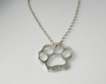 Custom Sterling Silver Dog Paw Print Necklace-Handstamped With Pet Name-Pet Memory Necklace-Sterling Pet Related Necklace-Pet Remembrance