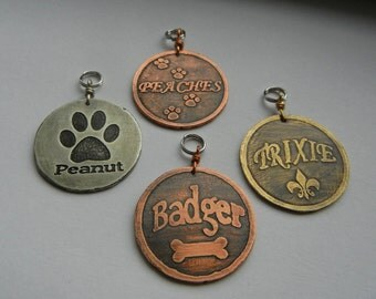 Choice of Bone, Fleur de lis, Paw Prints Dog Pet Id Tag-Custom Etched Brass, Copper, Nickel Dog Tag-Unique Pet Tag-Etched Pet Tag