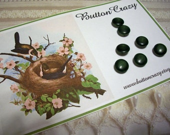7 Dark Green VINTAGE Buttons