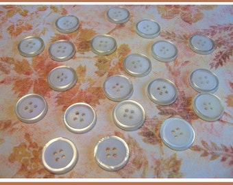 20 White 4-Holed Vintage Buttons