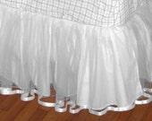 18 Or 20 Inch FULL Size TULLE Bedskirt in Whitest White.