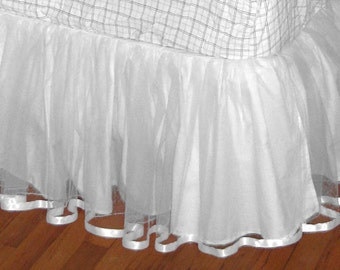 18 Or 20 Inch FULL Size TULLE Bedskirt in Whitest White.