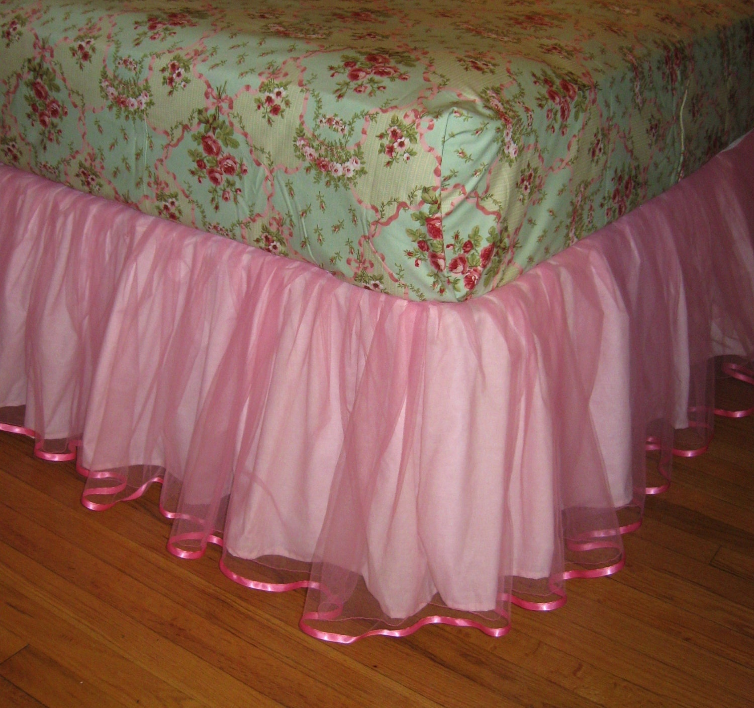 Twin Size Tulle Bedskirt In Paris Pink