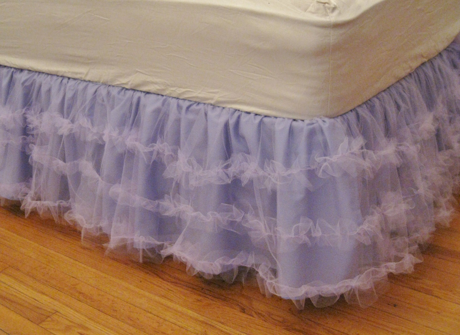 Full Size Layered Ruffle Tulle Bedskirt Lavender
