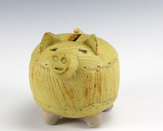 Wood Texture Yellow Piggy Bank