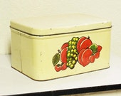 vintage bread box - metal - fruit - decoware - attached lid