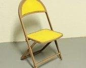 Vintage chair - kids chair - childs chair - metal - kiddie chair - yellow -  folding