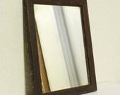 Vintage wall mirror - wall hanging mirror - wood frame