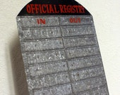 Vintage In Out Official Registry - sign - in out register - industrial - metal