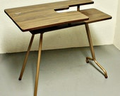 Vintage sewing table - sewing machine table - Pfaff 297 - wood - folding