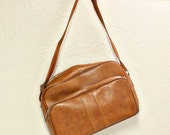 Vintage bag - travel bag - tote - shoulder bag - tan/brown