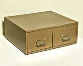 Vintage file drawer  - file box - file cabinet - card catalog - index card drawer - 2 drawer - Lit-Ning