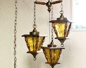 Vintage hanging light - hanging lamp - street light fixtures - wood - swag lamp - pendant light - RESERVED FOR Deborah Snyder (snugharbornc)