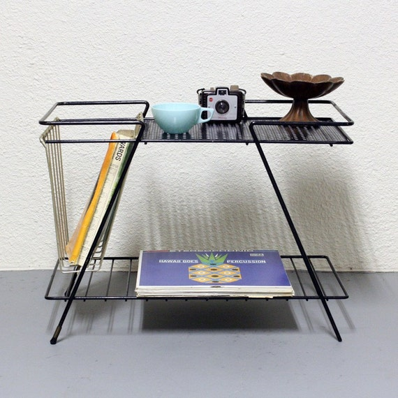 Vintage Table Stand Metal End Table Magazine Rack