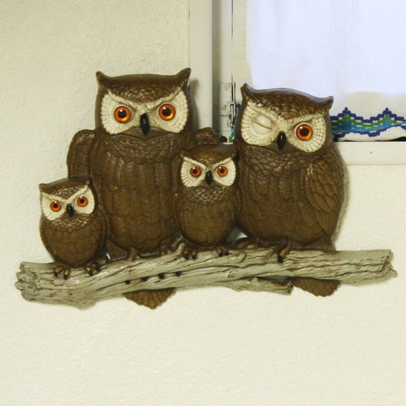 Vintage Wall Decor Owls Burwood Products Plastic Owl