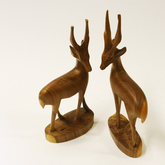 Vintage Wood Carving Gazelle Pair Animal By Oldcottonwood