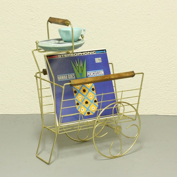Vintage Ashtray Stand Magazine Rack Cart Wagon By
