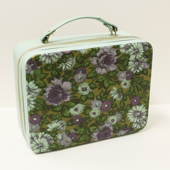 Vintage suitcase - luggage - traincase - tote - doll case - flowers - lunch box - RESERVED FOR BrendaLScholtz