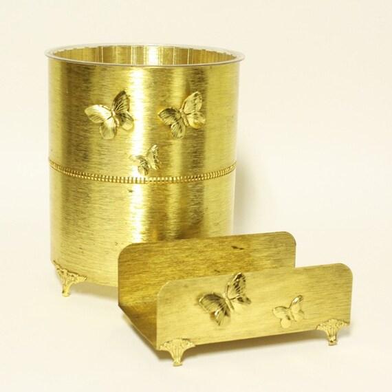 Vintage Trash Can And Tissue Box Holder Set Metal Gold