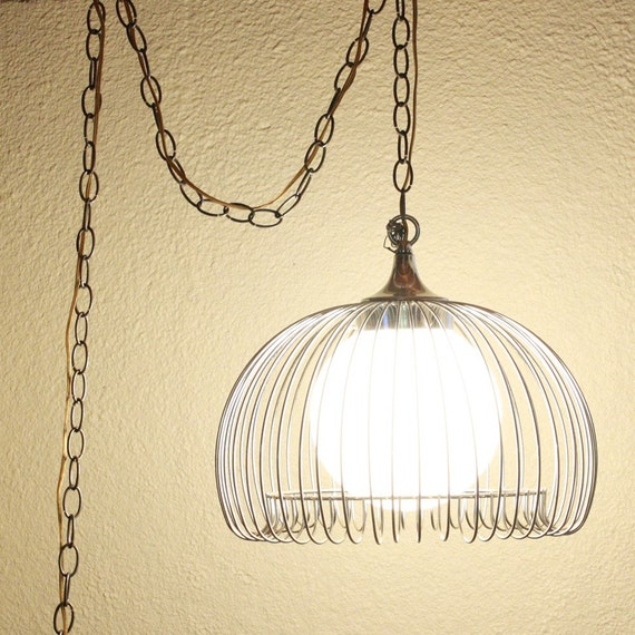 Vintage Hanging Light Hanging Lamp Metal Cage Glass