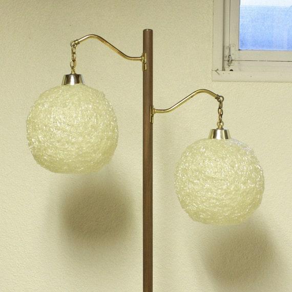 Vintage Floor Lamp Spaghetti Spun Shades 3 Way By
