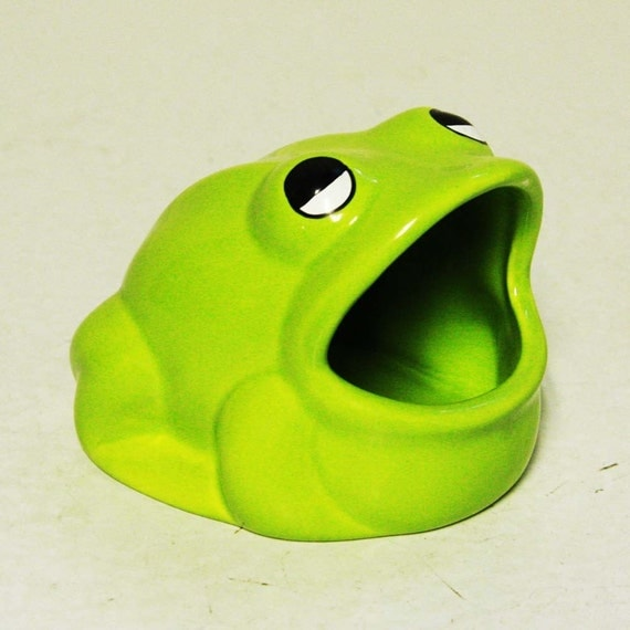 Vintage frog scrubby sponge holder bright green - Frog sponge holder kitchen sink ...