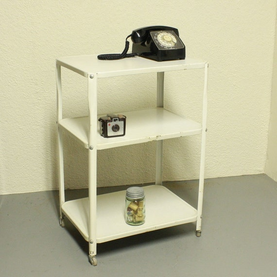 Vintage metal cart - serving cart - kitchen cart -   white - wheels - 3 shelf