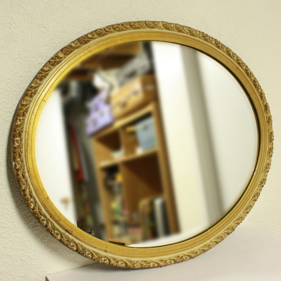 vintage wall mirror wall hanging mirror oval gold gilt. Black Bedroom Furniture Sets. Home Design Ideas