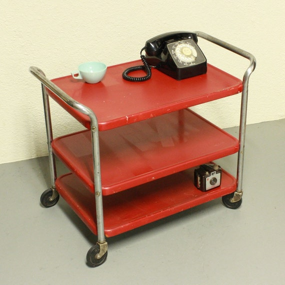 Vintage Metal Cart Serving Cart Kitchen Cart Red