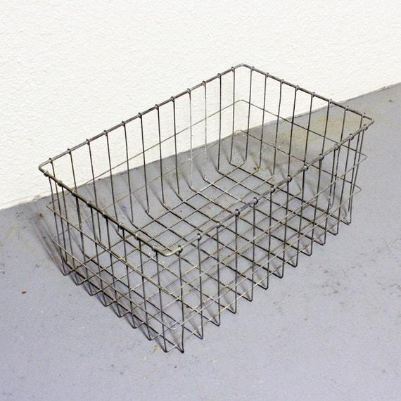 Vintage Wire Basket Metal Storage Crate By Oldcottonwood