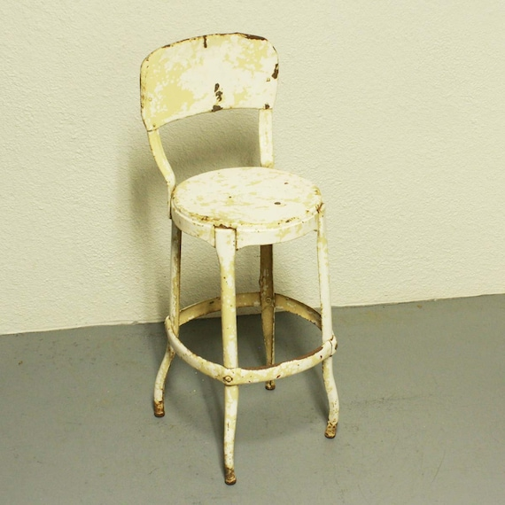 Vintage Stool Cosco Kitchen Stool Chair White By Oldcottonwood