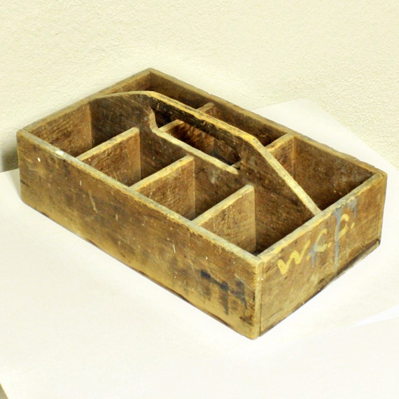 Vintage tool tray wood box tool box shadow by oldcottonwood for Wooden wine box garden