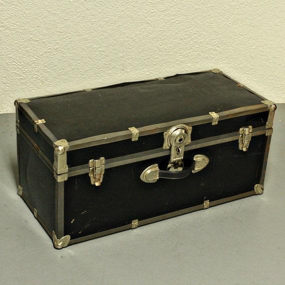 Vintage case - trunk - luggage - suitcase -  - metal - hardside - black