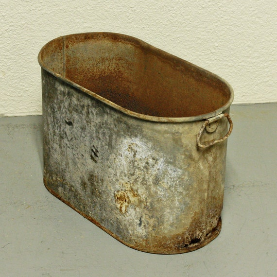 Vintage Metal Tub Galvanized Rust Industrial By Oldcottonwood