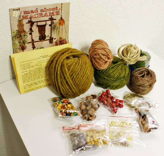 vintage macrame supplies - twine beads rings needles instruction book - large lot
