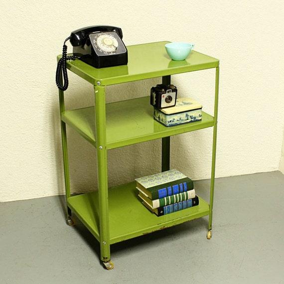 Vintage Metal Cart Serving Cart Kitchen Cart Green