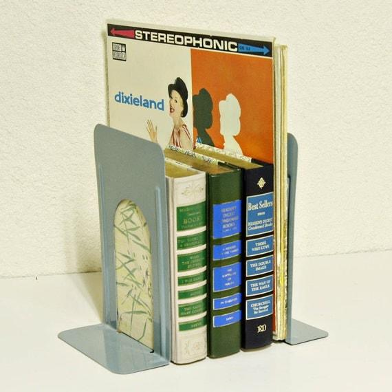 Vintage bookends - metal - industrial - blueish gray