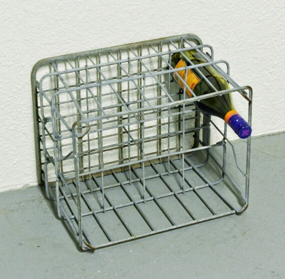 Vintage milk crate - milk basket - metal - wire - wine rack - bottle holder - Fairmont Creamery