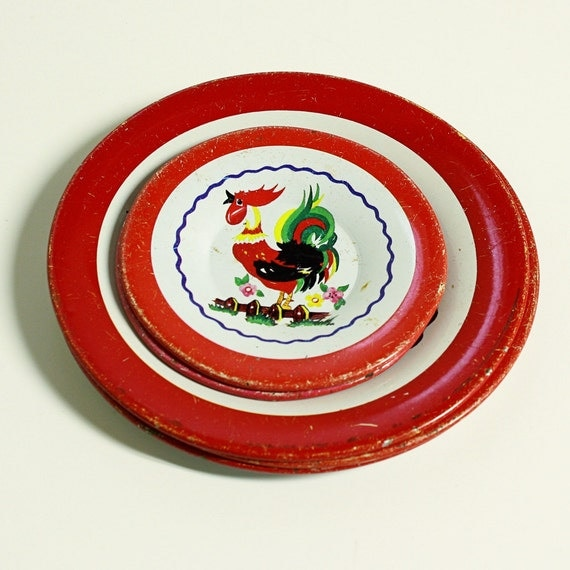 vintage tin toy saucers plates - 5 - childrens - red roosters - instant collection