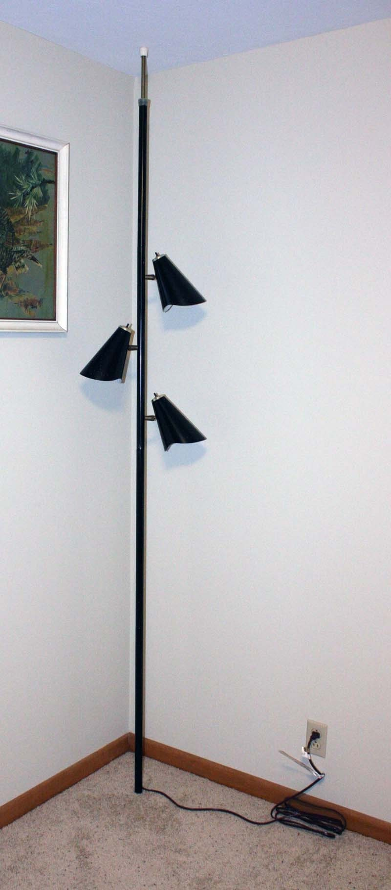 Vintage Lamp Pole Lamp Tension Pole Lamp Black Mid