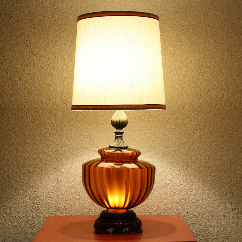 Vintage Table Lamp Glass Brass Amber Orange With