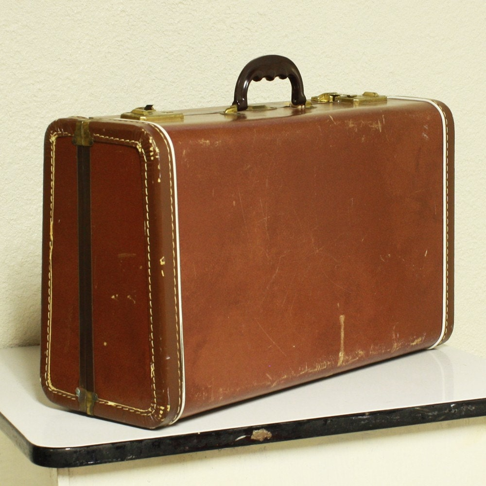Vintage suitcase brown luggage faux leather for The vintage suitcase