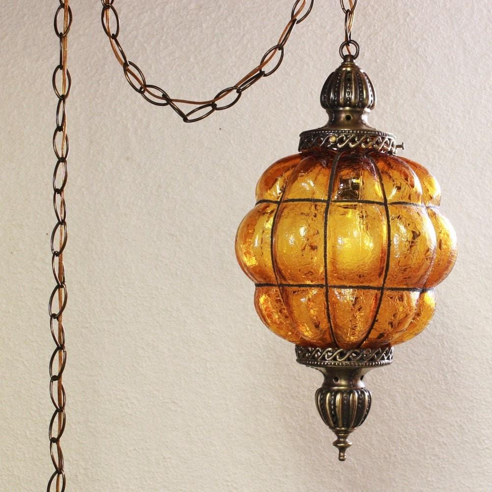 Vintage Hanging Light Hanging Lamp Amber Globe Crackle