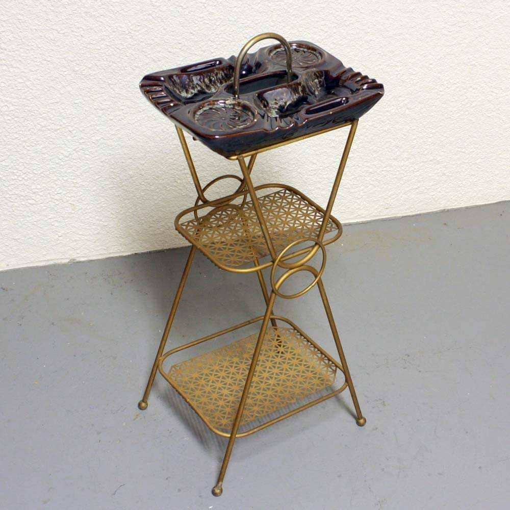 vintage ashtray stand ash tray stand metal gold tone. Black Bedroom Furniture Sets. Home Design Ideas
