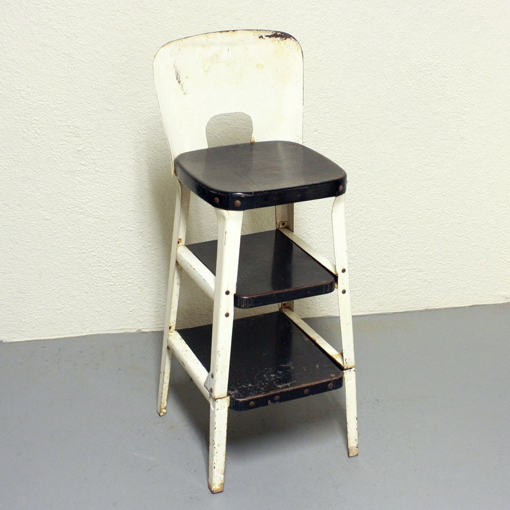 Vintage stool step stool kitchen stool chair by oldcottonwood for Stool chair