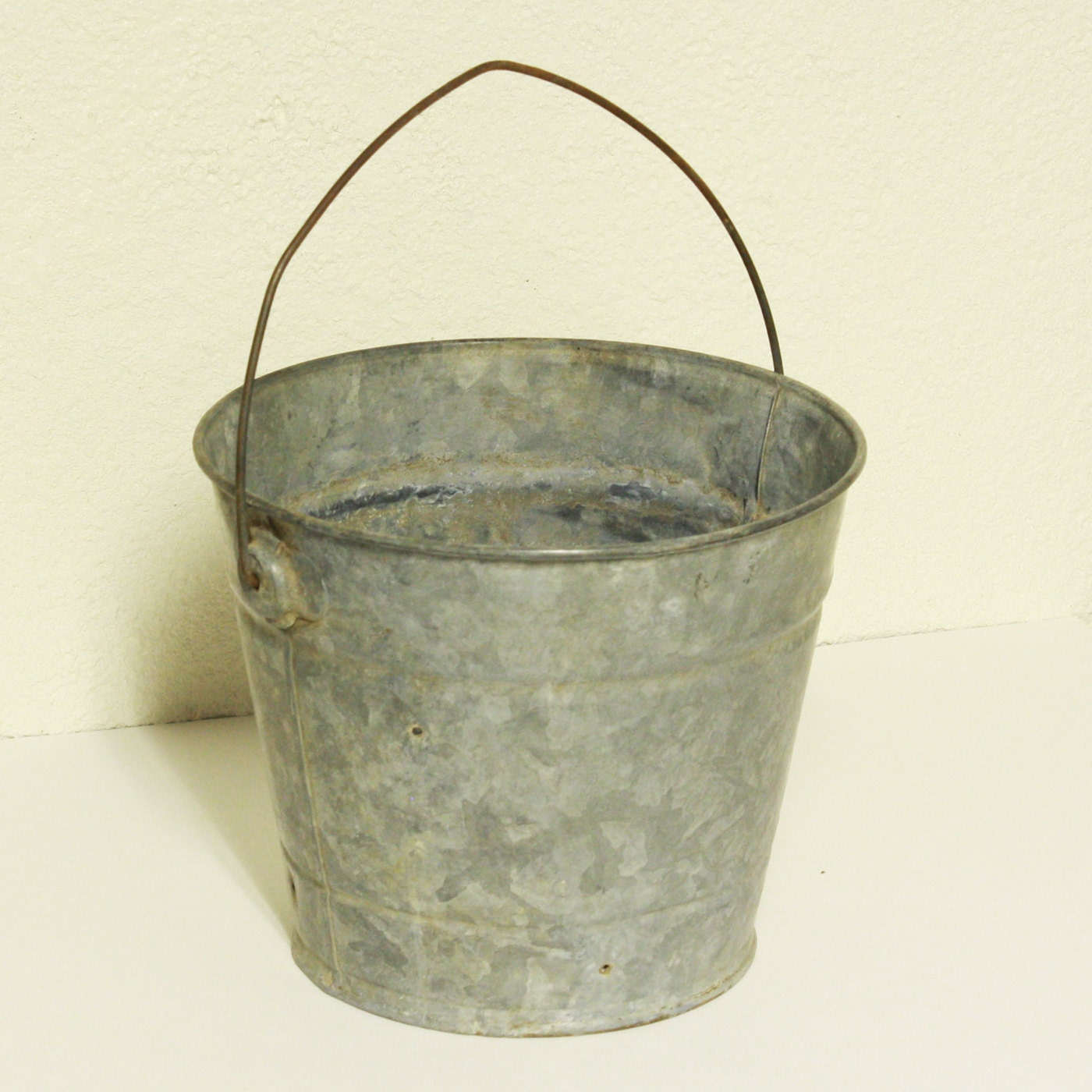 vintage metal bucket pail milk bucket galvanized
