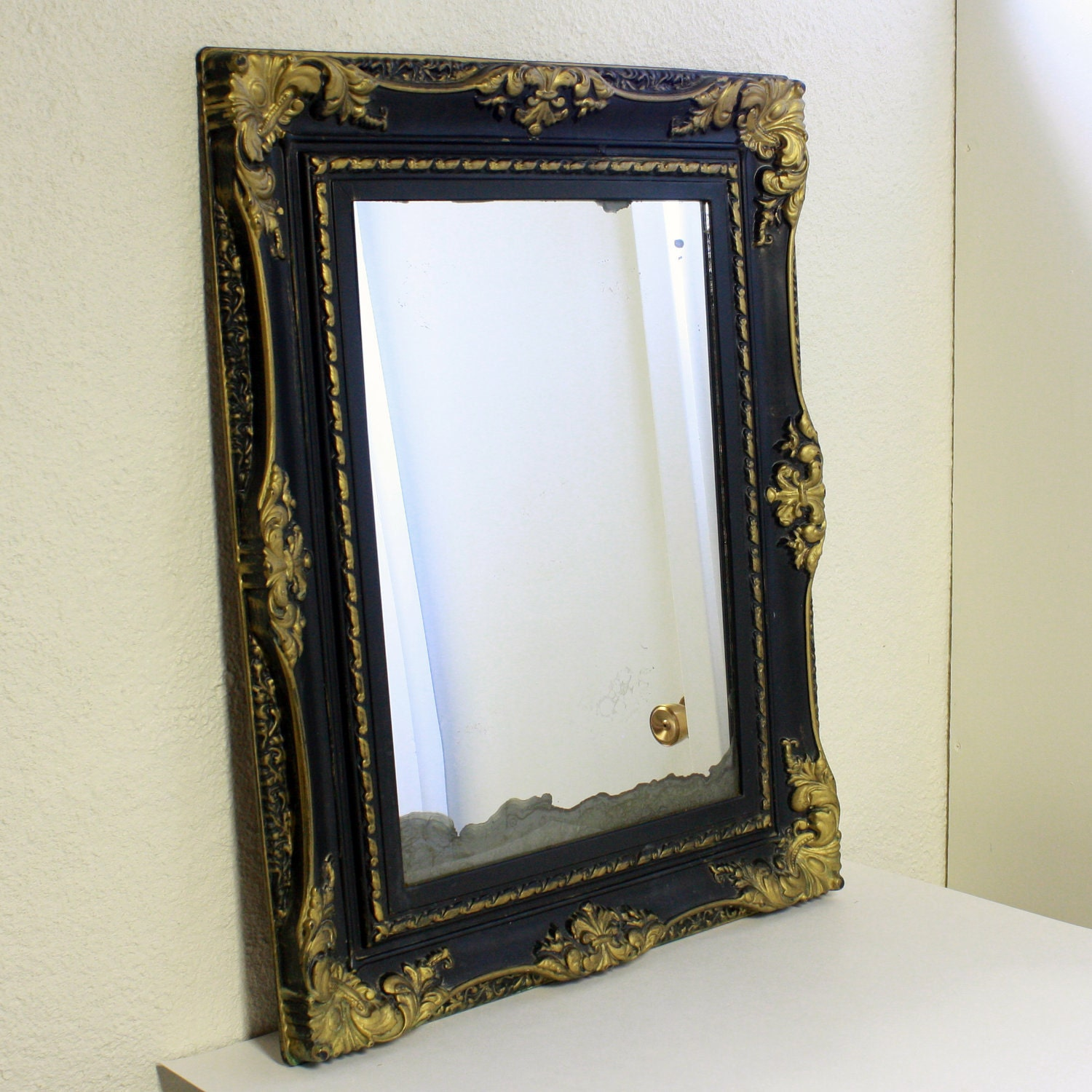 Vintage wall mirror wall hanging mirror gold by OldCottonwood