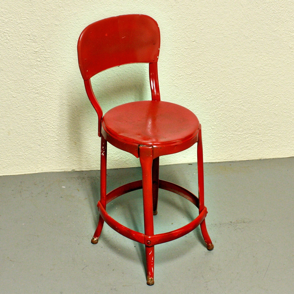 Cosco Chippy Red Metal Kitchen Cart Movable Painted Vintage: Vintage Stool Cosco Kitchen Stool Chair Red Metal