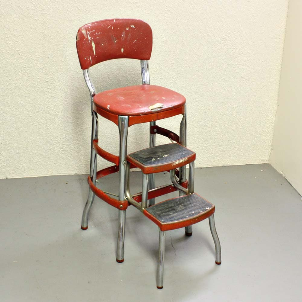 Retro Metal Kitchen Chair And Step Stool